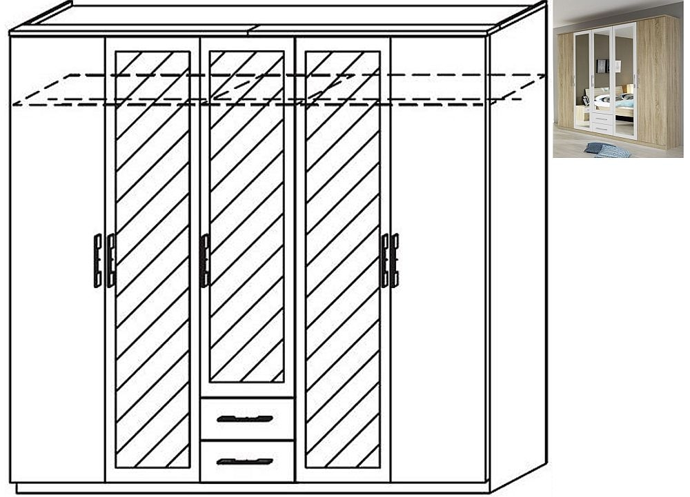 Rauch Valence-Extra 5 Door 3 Mirror 2 Drawer Combi Wardrobe with Cornice in Sonoma Oak and Alpine White - W 226cm