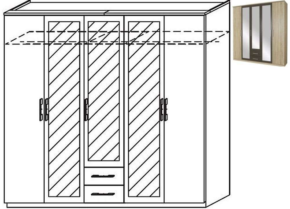 Rauch Valence-Extra 5 Door 3 Mirror 2 Drawer Combi Wardrobe with Cornice in Sonoma Oak and Lava Grey - W 226cm