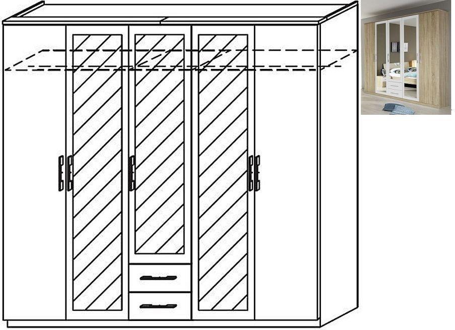 Rauch Valence-Extra 5 Door 3 Mirror Wardrobe with Cornice in Sonoma Oak and Alpine White - W 226cm