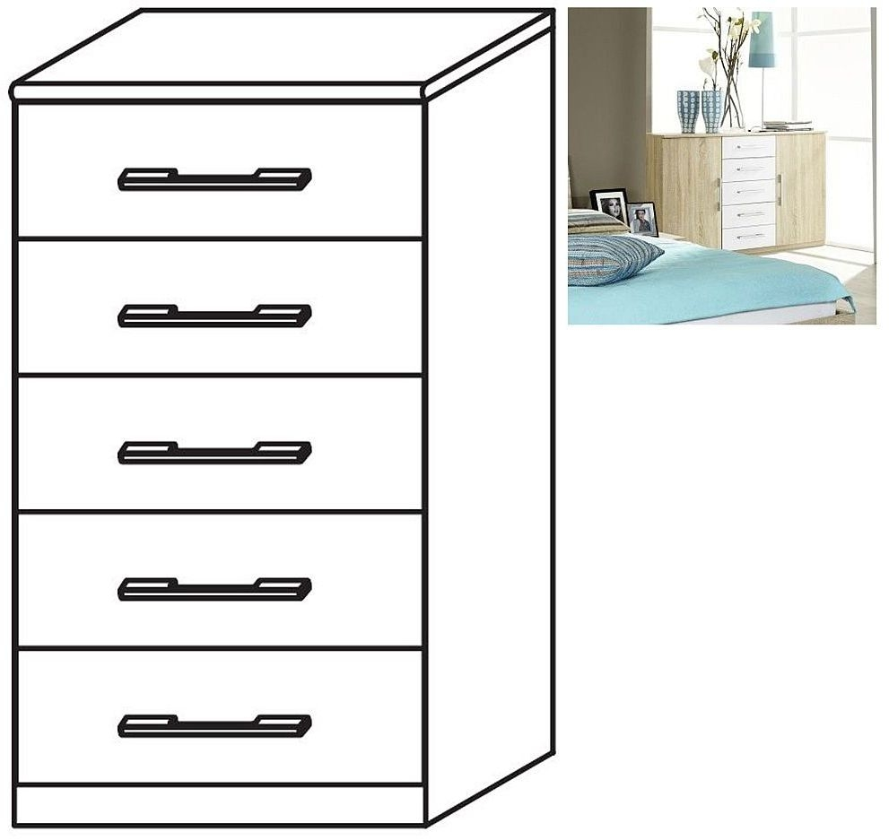 Rauch Valence-Extra 5 Drawer Chest in Sonoma Oak and Alpine White