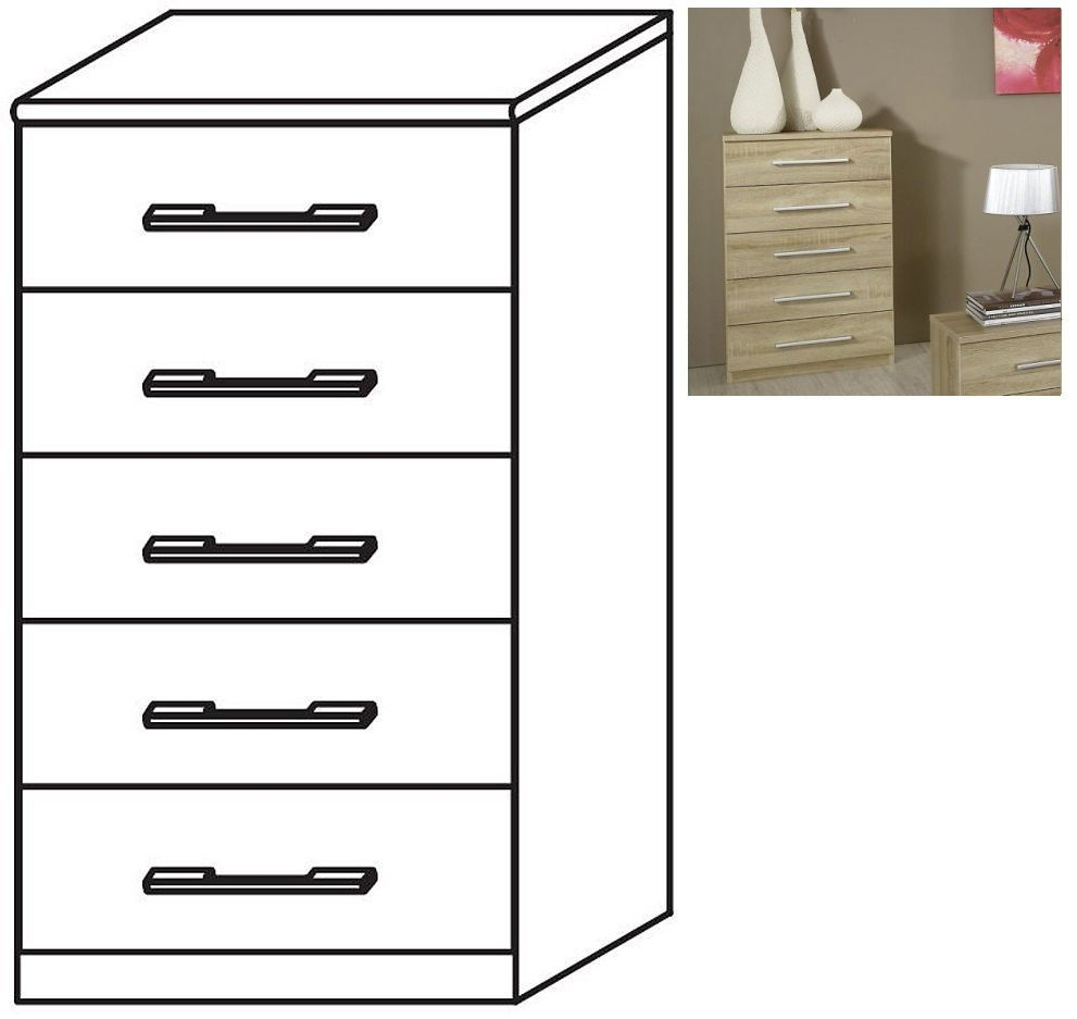 Rauch Valence-Extra 5 Drawer Chest in Sonoma Oak