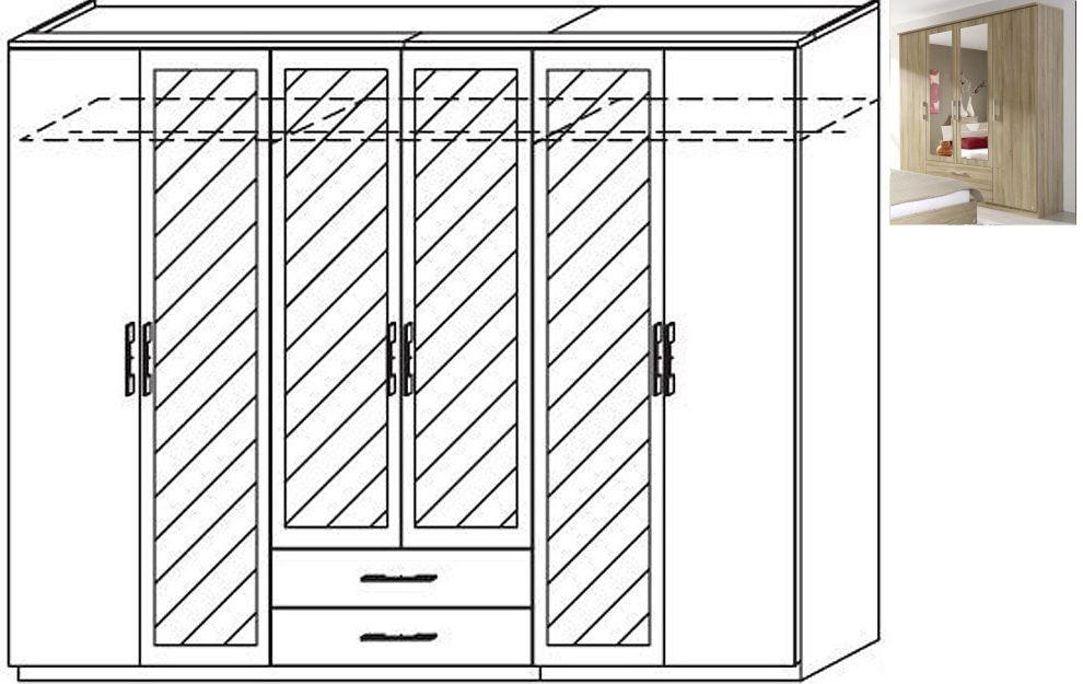 Rauch Valence-Extra 6 Door 4 Mirror 2 Drawer Combi Wardrobe with Cornice in Sonoma Oak - W 271cm