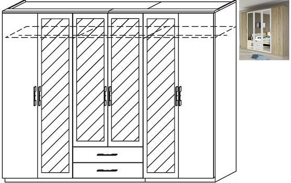 Rauch Valence-Extra 6 Door 4 Mirror 2 Drawer Combi Wardrobe with Cornice in Sonoma Oak and Alpine White - W 271cm