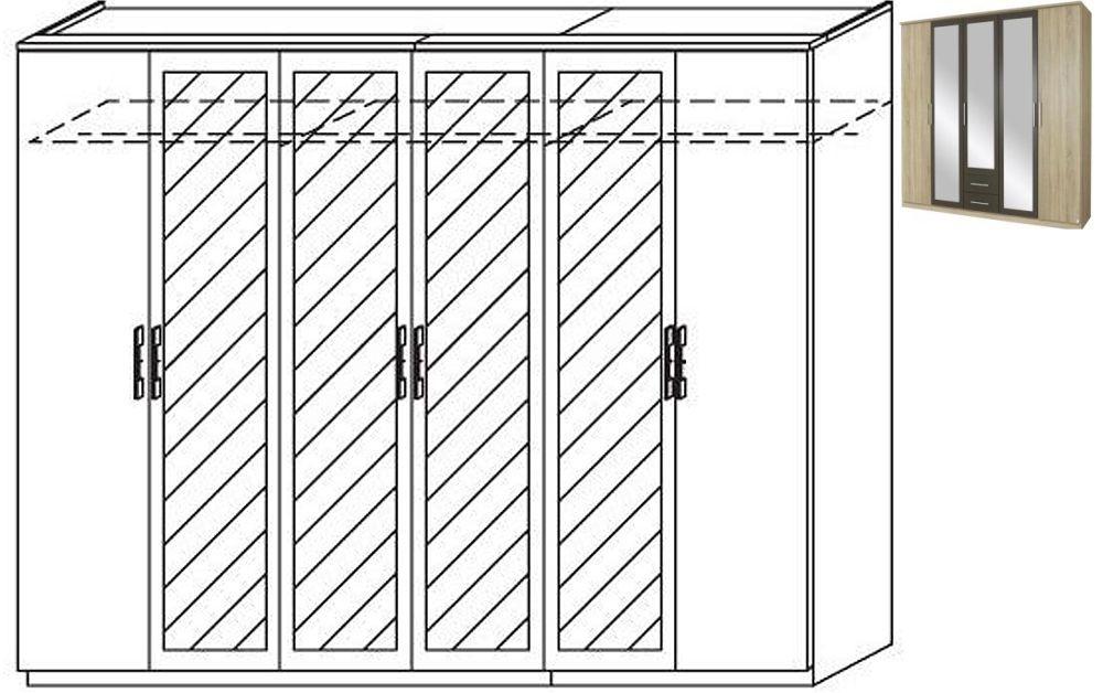 Rauch Valence-Extra 6 Door 4 Mirror Wardrobe with Cornice in Sonoma Oak and Lava Grey - W 271cm