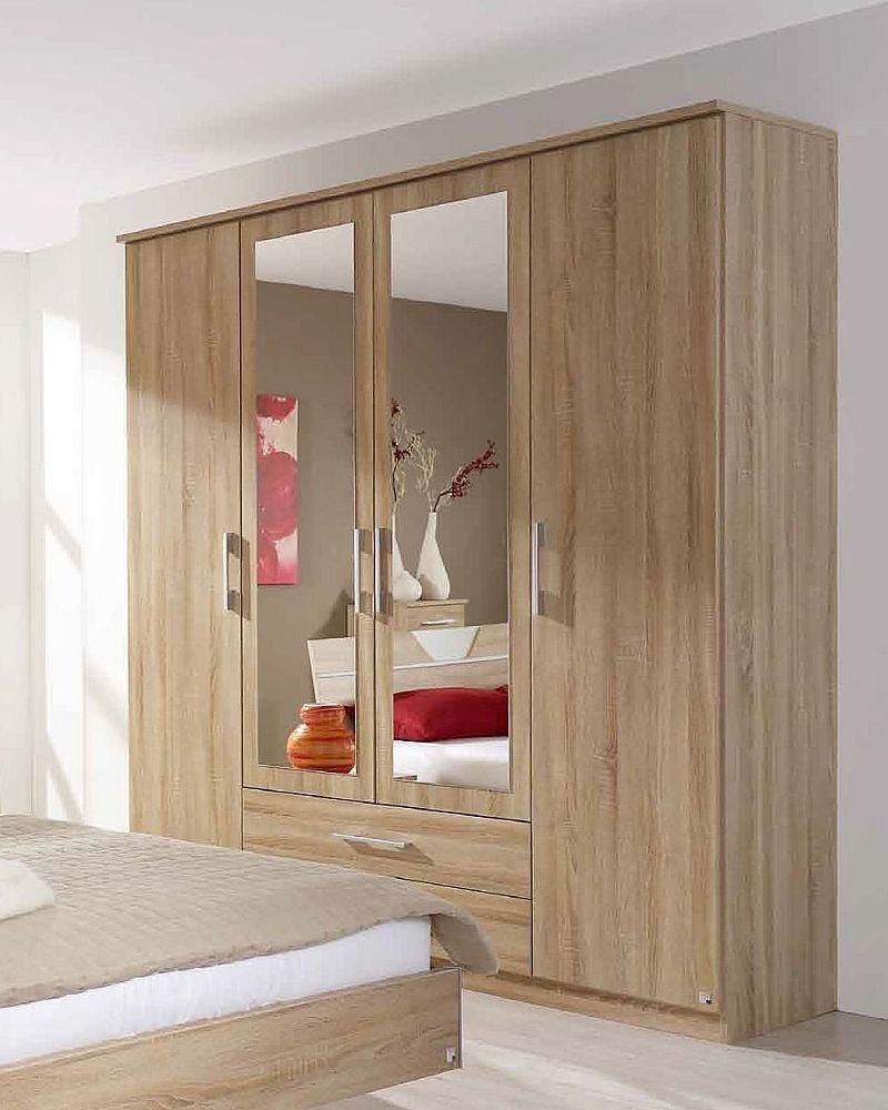 Rauch Valence Extra 4 Door Mirror Combi Wardrobe with Cornice in Oak - W 181cm