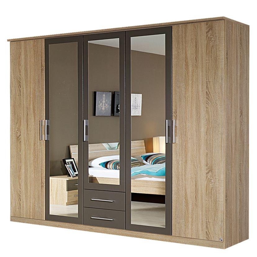 Rauch Valence Extra 5 Door Mirror Combi Wardrobe with Cornice in Oak and Lava Grey - W 226cm