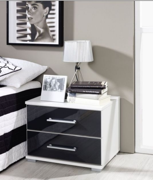 Rauch Vereno Extra 2 Drawer Glass Low Feet Bedside Cabinet in Alpine White and Basalt