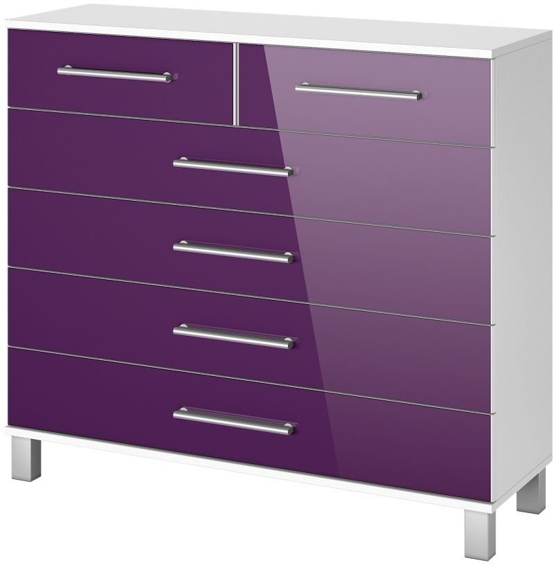 Rauch Vereno Extra 1 Door 5 Drawer Glass Low Feet Combi Chest in Alpine White and Blackberry