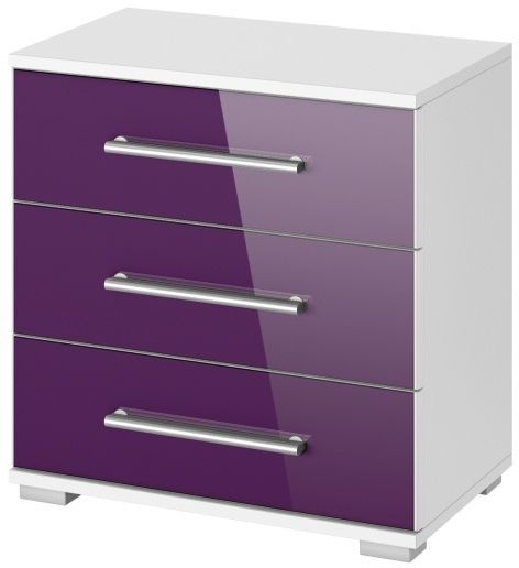 Rauch Vereno Extra 3 Drawer Glass Bedside Cabinet in Alpine White and Blackberry with Low Feet