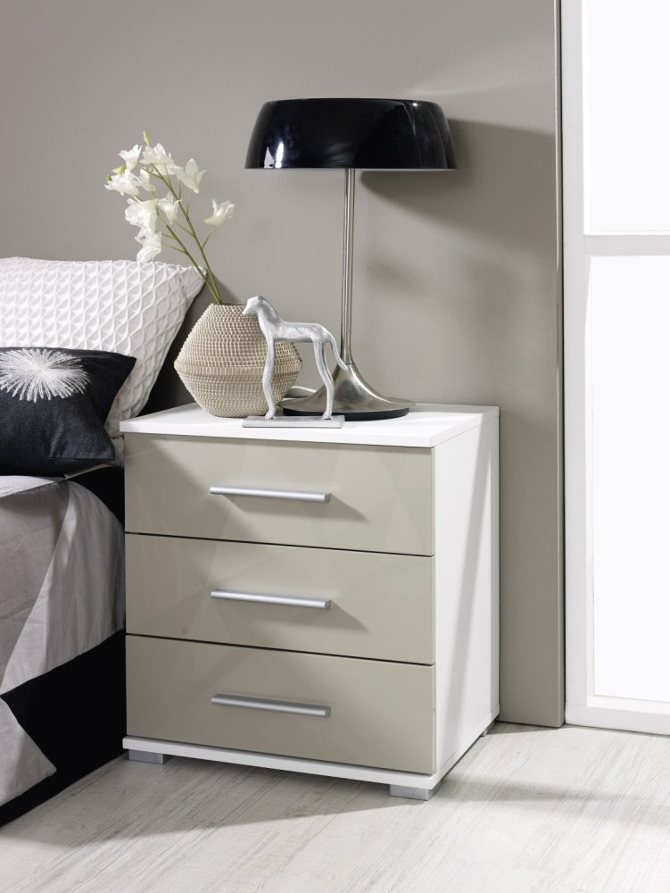 Rauch Vereno Extra 3 Drawer High Gloss Bedside Cabinet in Alpine White and Sand Grey with Low Feet - (Pair)