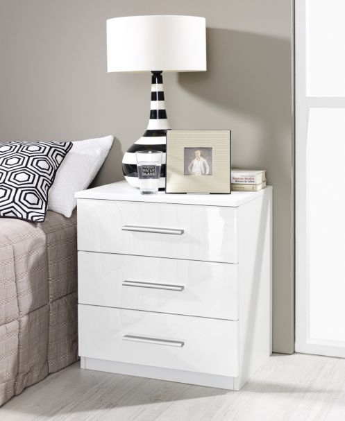 Rauch Vereno Extra 3 Drawer Low Feet Bedside Cabinet in White - (Pair)