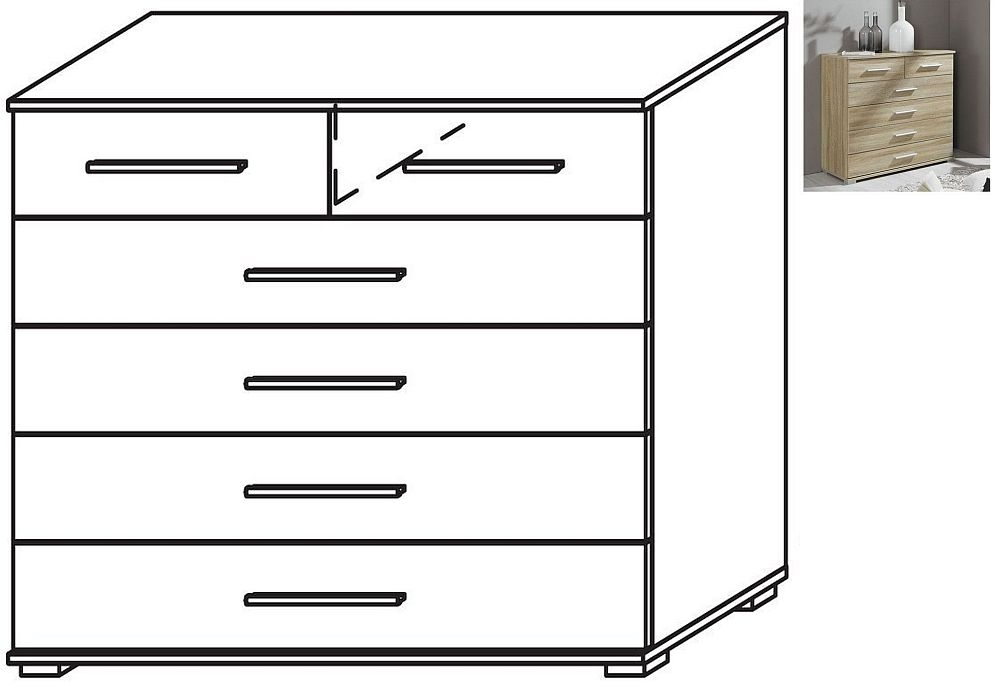 Rauch Vereno Extra Low Feet 2+4 Drawer Chest in Sonoma Oak