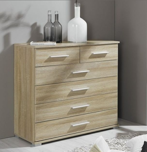 Rauch Vereno Extra Low Feet 2 Door 5 Drawer Combi Chest in Sonoma Oak