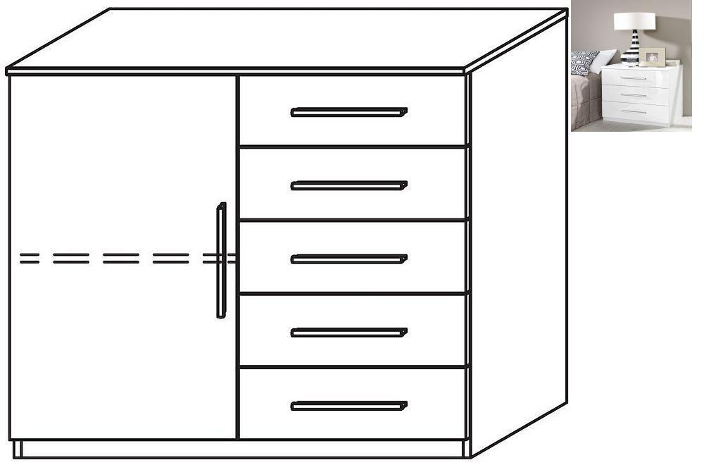 Rauch Vereno 1 Door 5 Drawer Combi Chest in Alpine White and High Gloss White