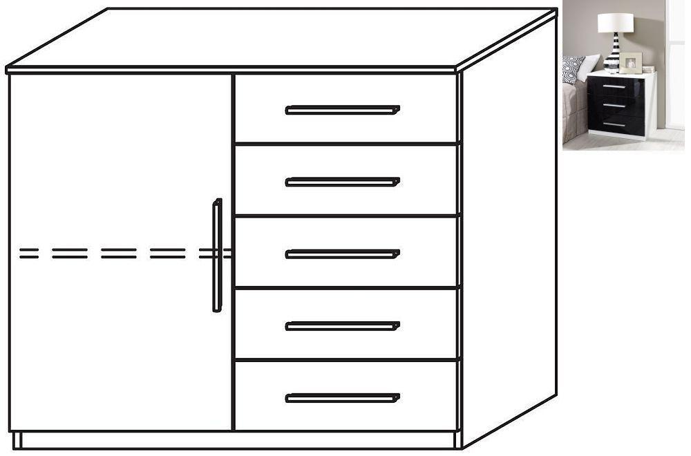 Rauch Vereno 1 Door 5 Drawer Glass Combi Chest in Alpine White and Basalt