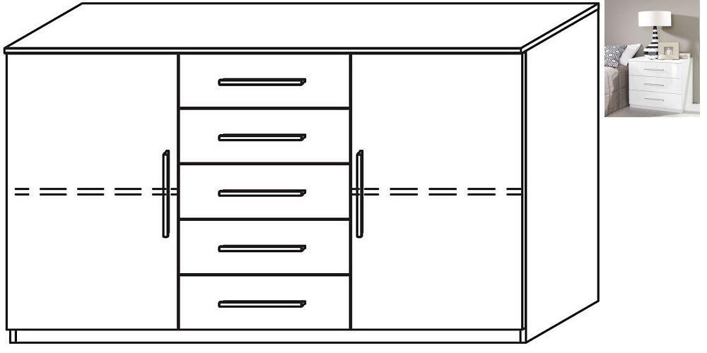Rauch Vereno 2 Door 5 Drawer Combi Chest in Alpine White and High Gloss White