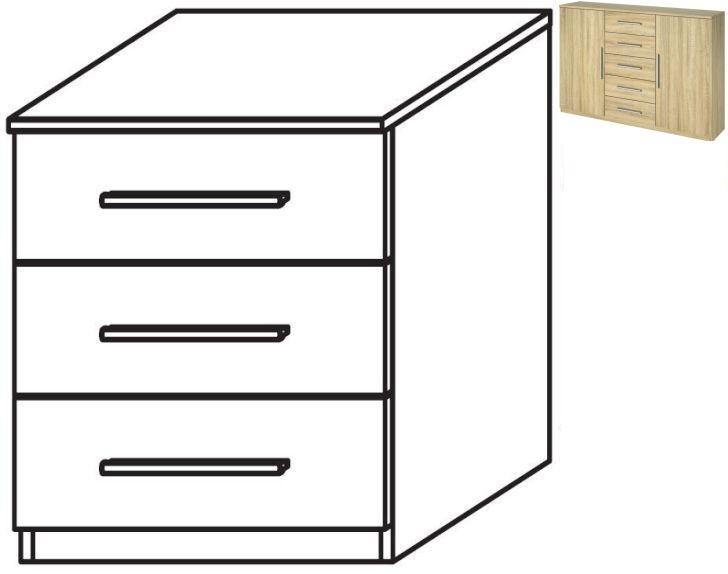 Rauch Vereno 3 Drawer Bedside Cabinet in Sonoma Oak