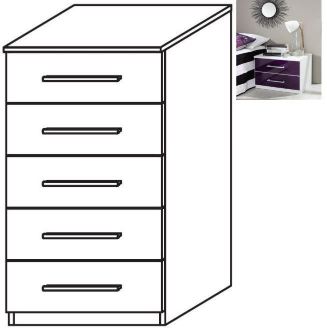 Rauch Vereno 5 Drawer Glass Chest in Alpine White and Blackberry