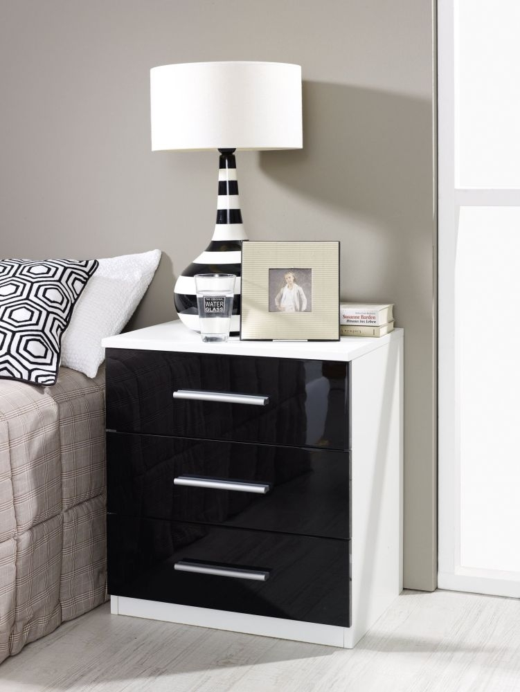 Rauch Vereno 3 Drawer Glass Bedside Cabinet in Alpine White and Basalt