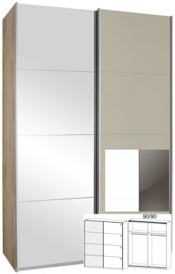 Rauch Elegant4you 2 Door 1 Mirror Sliding Wardrobe - Alpine White Carcase with High Polish Lava Grey (In Stock)