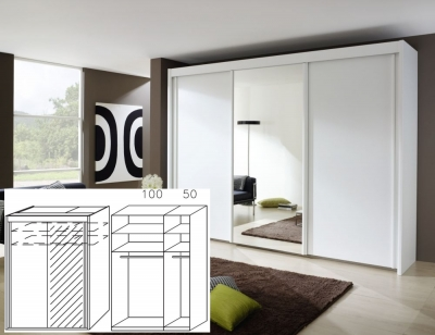 Rauch Imperial Alpine White 2 Door Sliding Wardrobe with 1 Mirror - W 150cm H 223cm (In Stock)