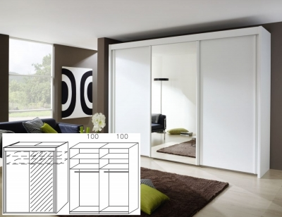Rauch Imperial Alpine White 2 Door Sliding Wardrobe with 1 Mirror - W 201cm H 223cm (In Stock)