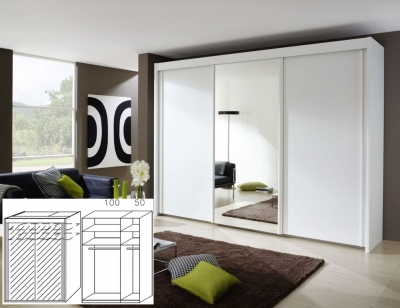 Rauch Imperial Alpine White 2 Door Sliding Wardrobe with Full Mirror Front - W 150cm H 223cm (In Stock)