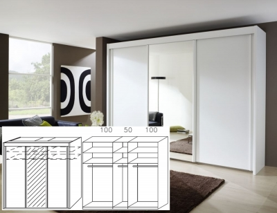 Rauch Imperial Alpine White 3 Door Sliding Wardrobe with 1 Mirror - W 250cm H 223cm (In Stock)