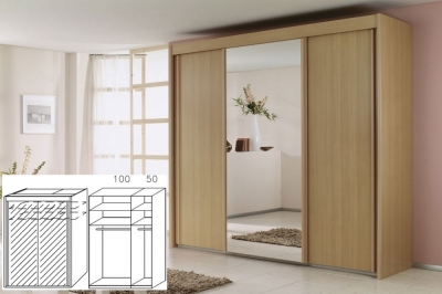 Rauch Imperial Beech 2 Door Sliding Wardrobe with Full Mirror Front - W 150cm H 223cm (In Stock)