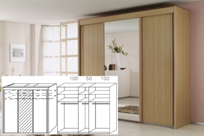 Rauch Imperial Beech 3 Door Sliding Wardrobe with 1 Mirror - W 250cm H 223cm (In Stock)