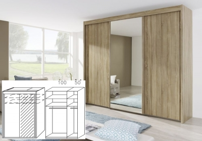 Rauch Imperial Sonoma Oak 2 Door Sliding Wardrobe with 1 Mirror - W 150cm H 223cm (In Stock)