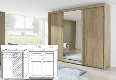 Rauch Imperial Sonoma Oak 2 Door Sliding Wardrobe with 1 Mirror - W 201cm H 223cm (In Stock)
