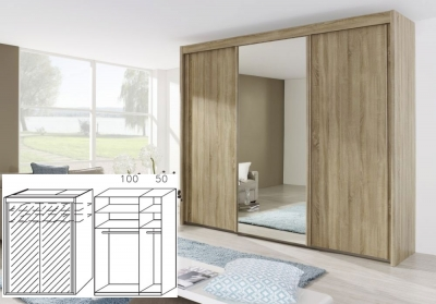 Rauch Imperial Sonoma Oak 2 Door Sliding Wardrobe with Full Mirror Front - W 150cm H 223cm (In Stock)
