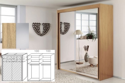 Rauch Imperial Sonoma Oak 2 Door Sliding Wardrobe with Mirror - W 201cm H 235cm (In Stock)