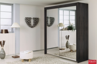 Rauch Imperial Wenge Shiraz 2 Door Sliding Wardrobe with Mirror - W 201cm H 223cm (In Stock) - C43503