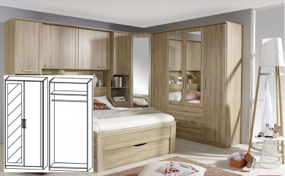 Rauch Rivera Sonoma Oak 2 Door 1 Left Mirror Wardrobe with Cornice - W 91cm (In Stock)