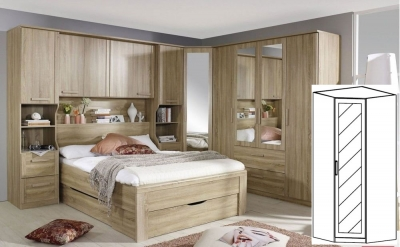 Rauch Rivera Sonoma Oak 1 Door 1 Mirror Corner Wardrobe with Cornice - W 91cm x H 212cm (In Stock)