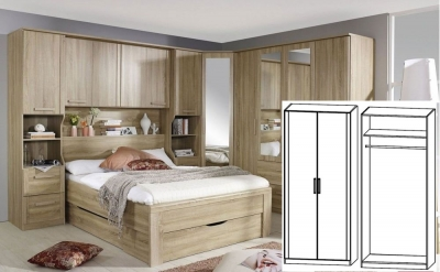 Rauch Rivera Sonoma Oak 2 Door Wardrobe with Cornice - W 91cm x H 212cm (In Stock)