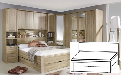 Rauch Rivera Sonoma Oak Bed with Plinth Drawers - 140cm x 190cm (In Stock)