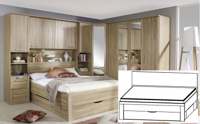 Rauch Rivera Sonoma Oak Bed with Plinth Drawers - 160cm x 200cm (In Stock)