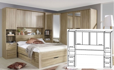 Rauch Rivera Sonoma Oak Overbed Unit with Wall Panel and Book Storage for Bed 140cm x 190cm (In Stock)