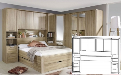 Rauch Rivera Sonoma Oak Overbed Unit with Wall Panel and Book Storage for Bed 160cm x 200cm (In Stock)