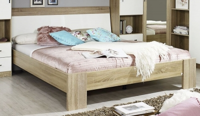 Rauch Samos Sonoma Oak Carcase with High Polish White Front Bed - 5ft King Size - C45439 (In Stock)