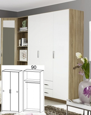 Rauch Samos Sonoma Oak with High Polish White 2 Door Wardrobe - W 91cm H 210cm (In Stock)