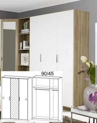 Rauch Samos Sonoma Oak with High Polish White 3 Door Wardrobe with 1 Mirror - W 136cm H 210cm (In Stock)