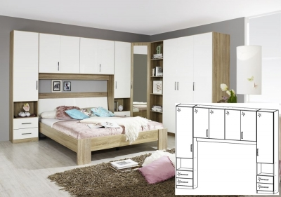 Rauch Samos Sonoma Oak with High Polish White Overbed Unit - W 160cm (In Stock)