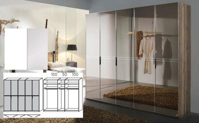 Rauch Steffen Alando White Matt Carcase with Crystal White Glass Front 5 Door Wardrobe - W 250cm H 236cm (In Stock)