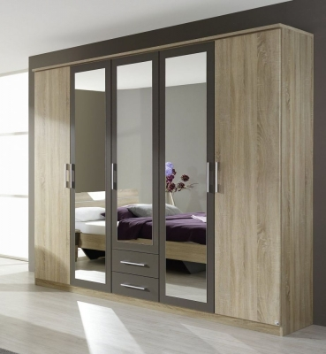 Rauch Valence 5 Door 2 Drawer Cornice Wardrobe with Sonoma Oak Carcase and Front with Lava Grey - C46273 (In Stock)