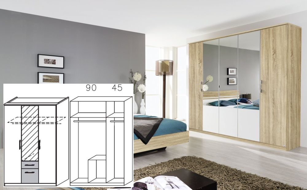 Rauch Arles Sonoma Oak and Alpine White 3 Door 2 Drawer Combi Wardrobe with 1 Mirror and Cornice - W 136cm x H 212cm (In Stock)