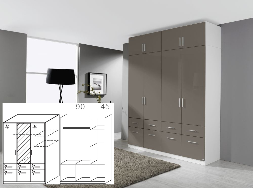 Rauch Celle Alpine White and High Polish Lava Grey 3 Door 6 Drawer Combi Wardrobe with 1 Mirror - W 136cm x H 197cm (In Stock)